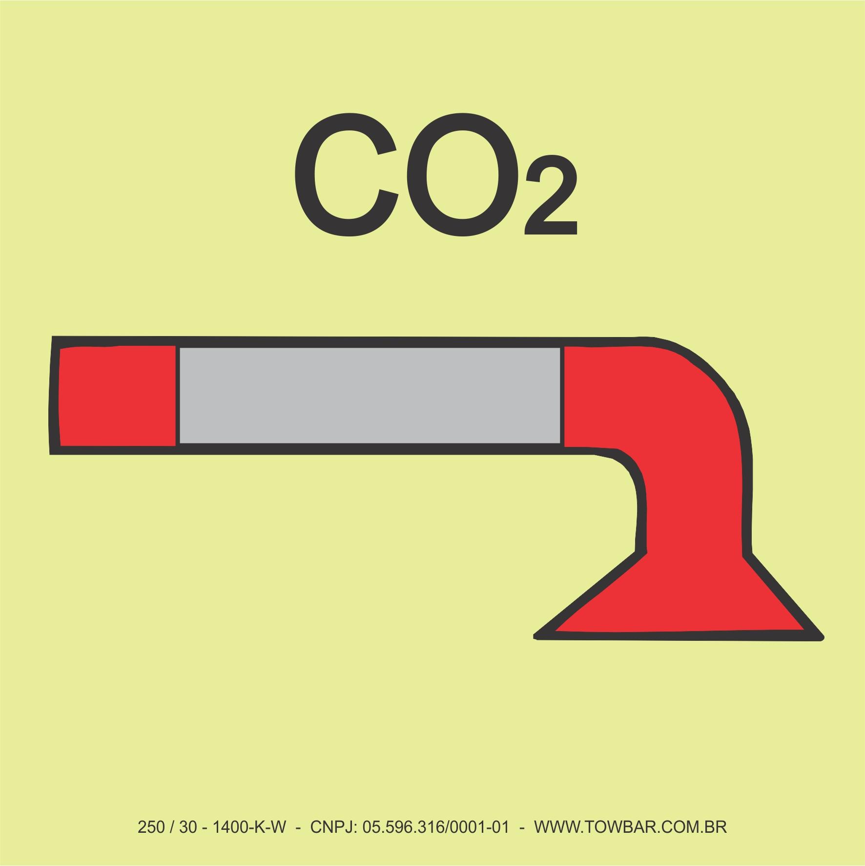 Space Protected by Water CO2  - Towbar Sinalização de Segurança