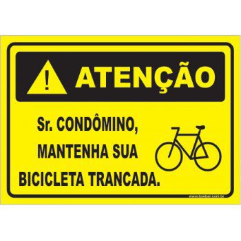 Sr condômino mantenha sua bicicleta trancada  - Towbar Sinalização de Segurança