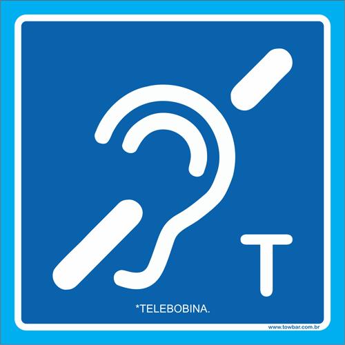 Placa símbolo telebobina  - Towbar Sinalização de Segurança