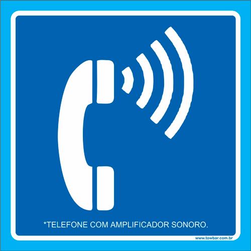 Placa telefone com amplificador sonoro  - Towbar Sinalização de Segurança