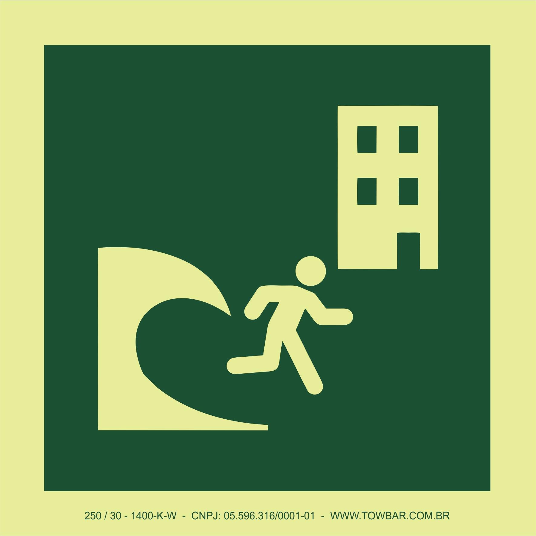 Prédio de evacuação por tsunami (Tsunami evacuation building)  - Towbar Sinalização de Segurança