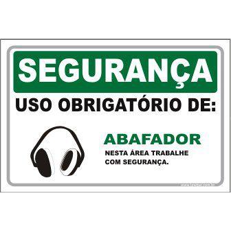 Uso Obrigatório de Abafador  - Towbar Sinalização de Segurança
