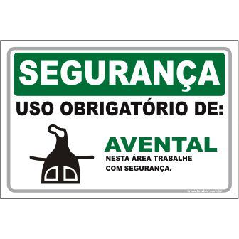 Uso Obrigatório de Avental  - Towbar Sinalização de Segurança