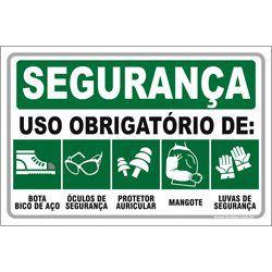 Uso obrigatório de bota óculos auricular mangote luvas  - Towbar Sinalização de Segurança