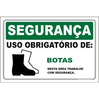 Uso Obrigatório de Botas  - Towbar Sinalização de Segurança