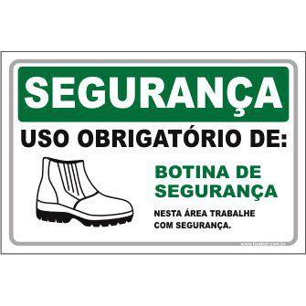 Uso Obrigatório de Botina de Segurança  - Towbar Sinalização de Segurança