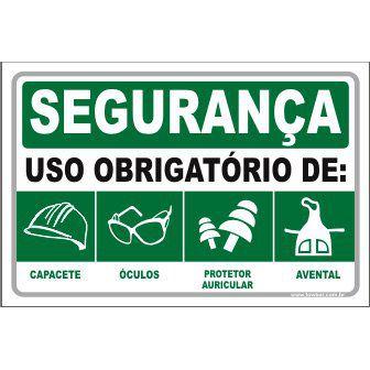Uso Obrigatório de capacete óculos auricular avental   - Towbar Sinalização de Segurança