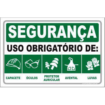 Uso Obrigatório de Capacete, Óculos, Auricular, Avental, Luva  - Towbar Sinalização de Segurança