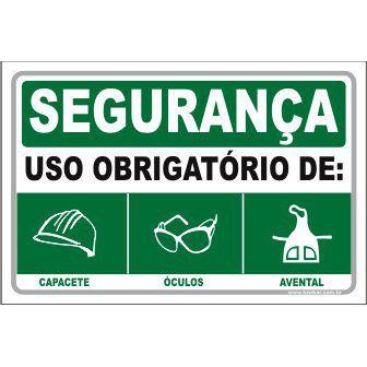 Uso Obrigatório de Capacete, Óculos, Avental   - Towbar Sinalização de Segurança
