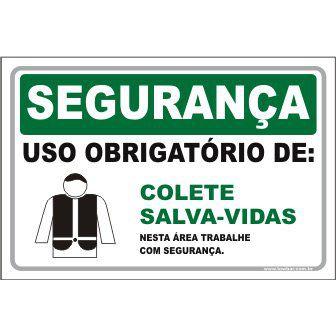 Uso Obrigatório de Colete Salva-Vidas  - Towbar Sinalização de Segurança