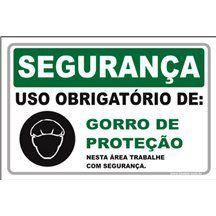 Uso Obrigatório de gorro de proteção  - Towbar Sinalização de Segurança