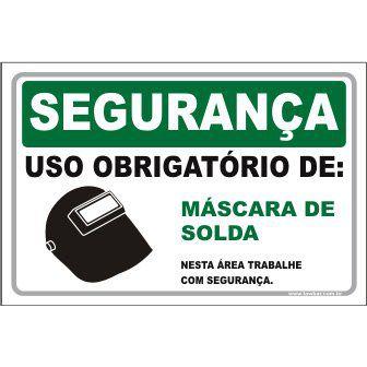 Uso Obrigatório de Máscara de Solda  - Towbar Sinalização de Segurança