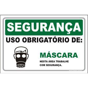 Uso Obrigatório de Máscara  - Towbar Sinalização de Segurança