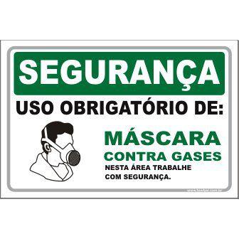 Uso Obrigatório de Máscara Contra Gases  - Towbar Sinalização de Segurança