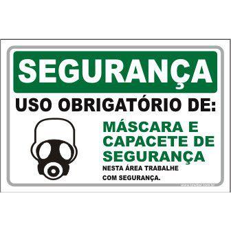 Uso Obrigatório de máscara e capacete  - Towbar Sinalização de Segurança