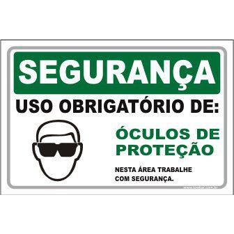 Uso Obrigatório de Óculos de Proteção  - Towbar Sinalização de Segurança