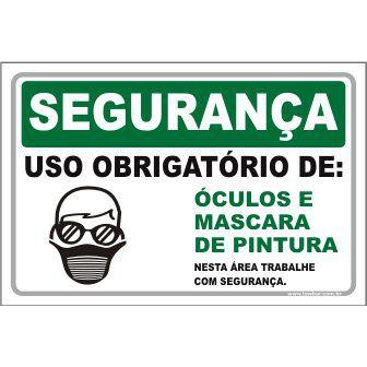 Uso Obrigatório de óculos e máscara  - Towbar Sinalização de Segurança