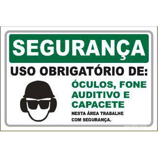 Uso Obrigatório de Óculos, Fone Auditivo e Capacete  - Towbar Sinalização de Segurança