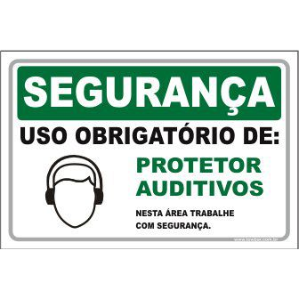 Uso Obrigatório de protetor auditivo  - Towbar Sinalização de Segurança