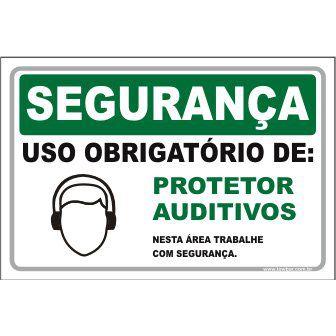 Uso Obrigatório de Protetor Auditivos  - Towbar Sinalização de Segurança