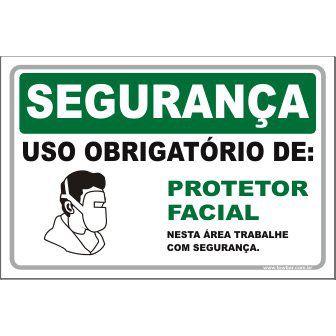 Uso Obrigatório de protetor facial  - Towbar Sinalização de Segurança