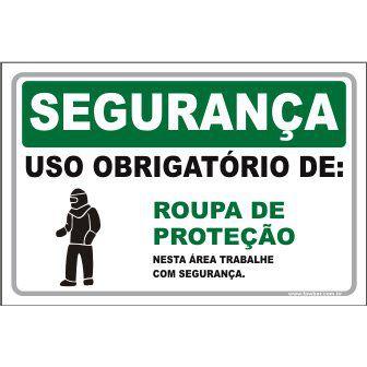 Uso Obrigatório de Roupa de Proteção  - Towbar Sinalização de Segurança