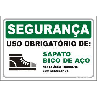 Uso Obrigatório de Sapato Bico de Aço  - Towbar Sinalização de Segurança