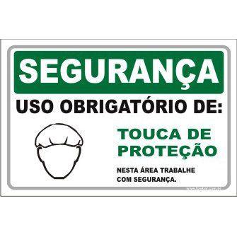 Uso Obrigatório de Touca de Proteção  - Towbar Sinalização de Segurança