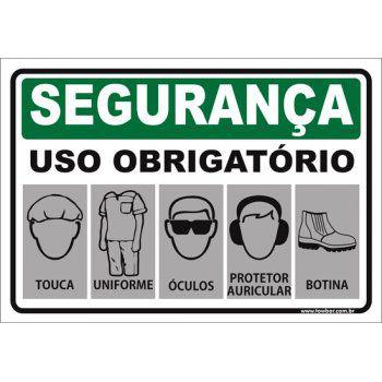 Uso Obrigatório de touca uniforme óculos auricular calçado  - Towbar Sinalização de Segurança