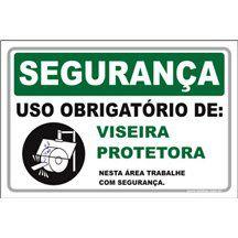 Uso Obrigatório de Viseira Protetora  - Towbar Sinalização de Segurança