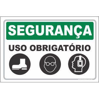 Uso Obrigatório Luva, Óculos e Abafador  - Towbar Sinalização de Segurança