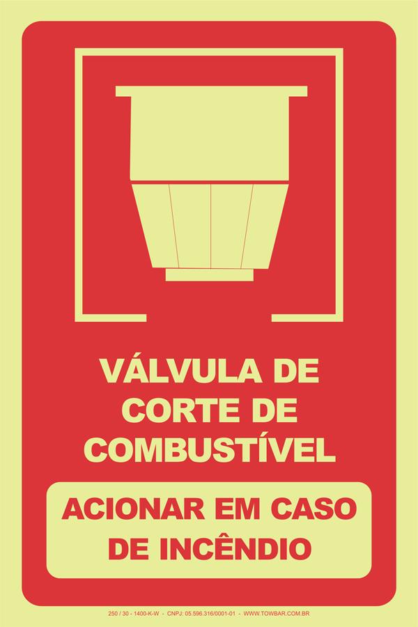 Válvula de Corte de Combustível - Acionar em Caso de Incêndio  - Towbar Sinalização de Segurança