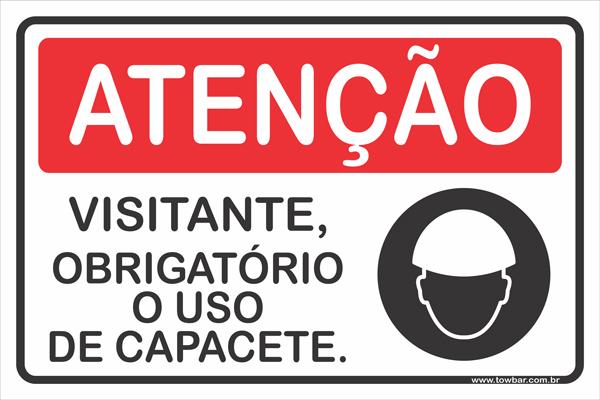 Visitante, Obrigatório o Uso de Capacete  - Towbar Sinalização de Segurança