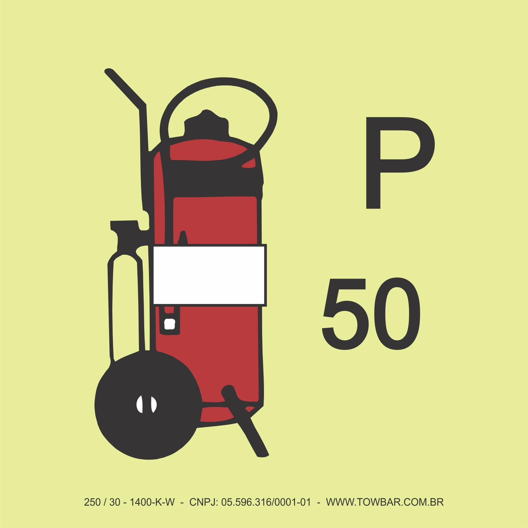 Extintor de Incêndio Pó Tipo Carreta (Wheeled Powder Fire Extinguisher P50)  - Towbar Sinalização de Segurança