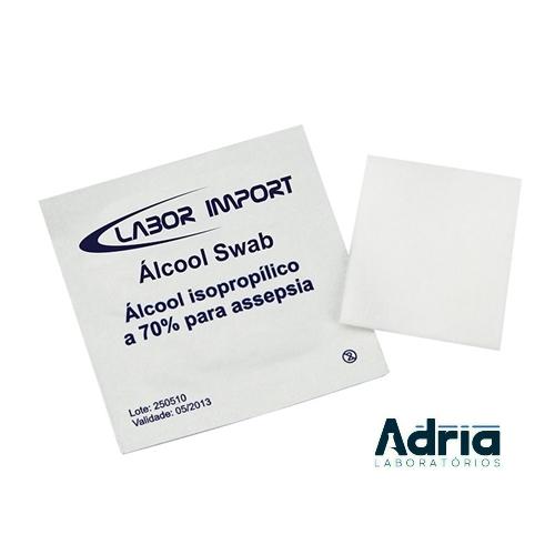 Sachê de Álcool Swab Estéril, 3x3cm Lenço Umedecido em Alcool Isopropilico a 70% para Assepsia C\ 100unidades