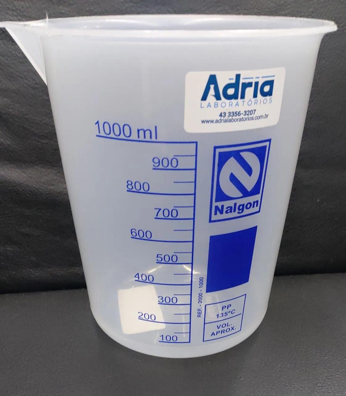 Copo Becker de Plástico Graduado em Silk Screem - Capacidade 1000ml Nalgon