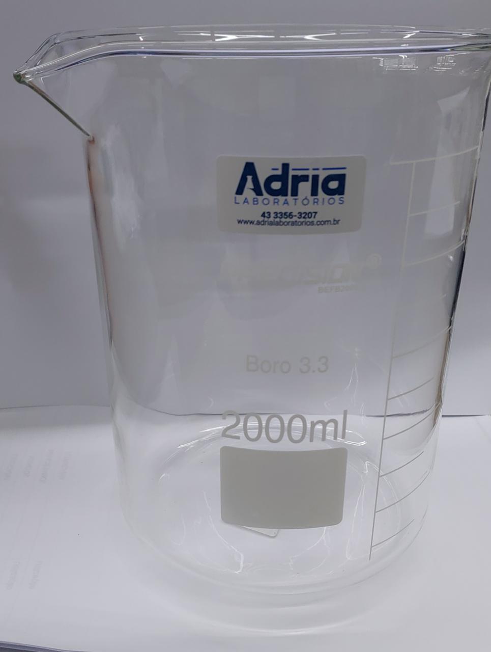 Copo Becker de Vidro (griffin) FB Graduado - Capacidade 2000ml Precision