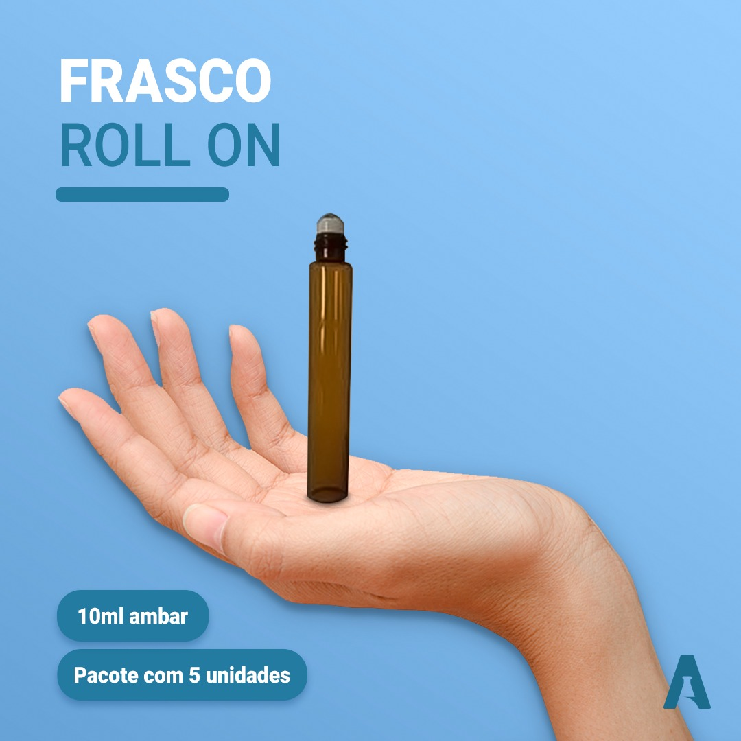Frasco de Vidro Roll On, Âmbar - Capacidade 10ml - Pacote c/ 5Unidades