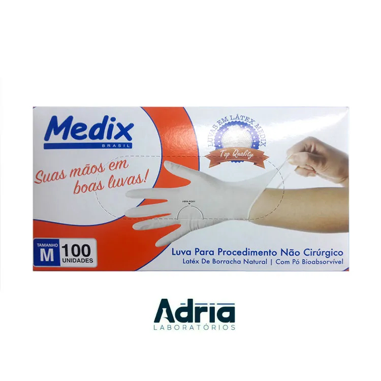 Luva Latex com Pó - Tamanho M - c/100 Unidades Medix