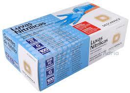 Luva Nitrilica de tamanho G - azul - caixa com 100 unidades (50 pares)