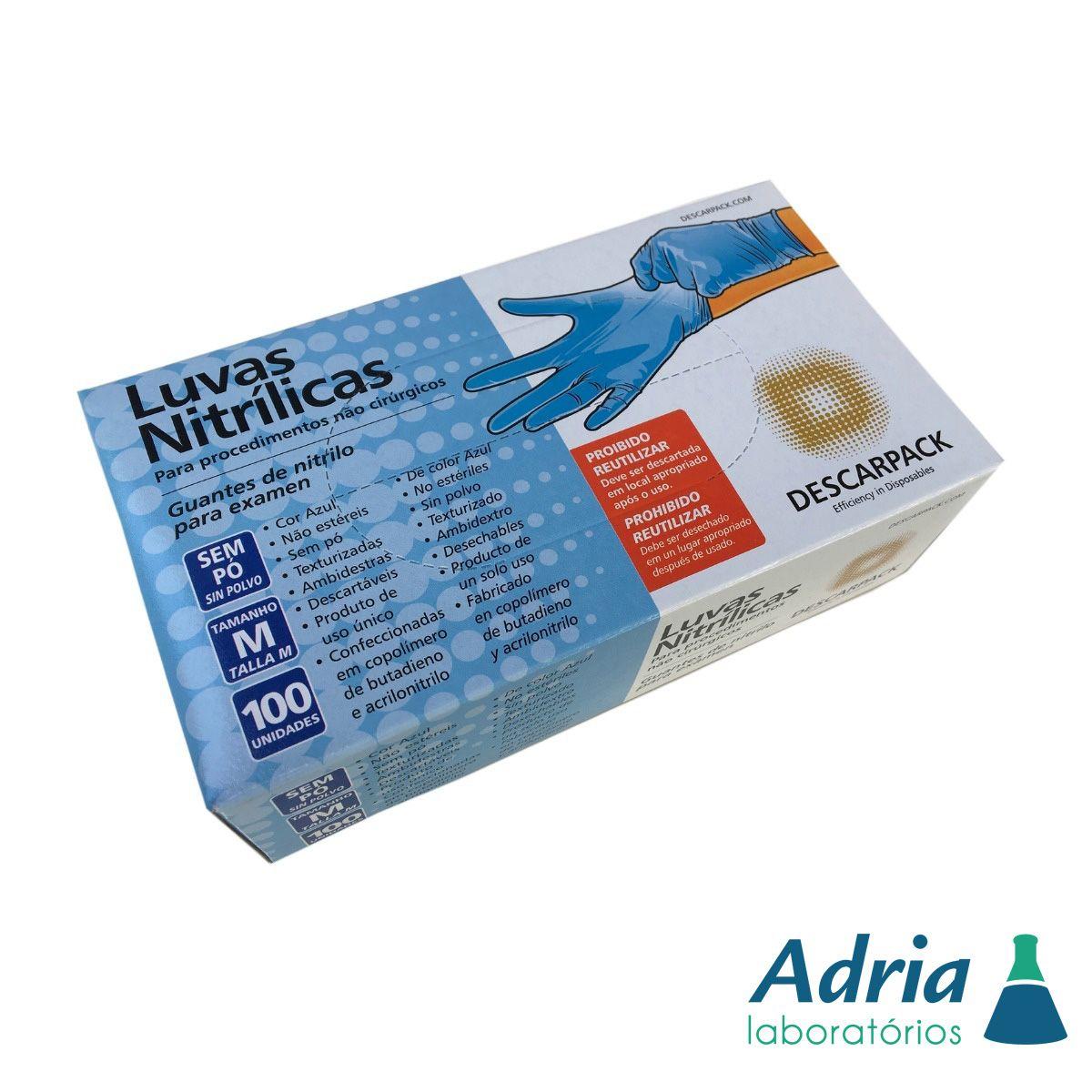 Luva Nitrilica de tamanho P - azul - caixa com 100 unidades (50 pares)