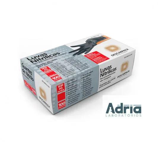 Luva Nitrilica de tamanho M - Preta- caixa com 100 unidades (50 pares)