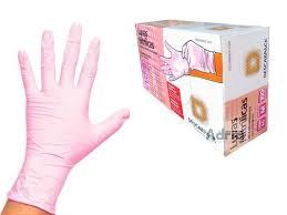 Luva Nitrilica Sem Pó - Rosa - Tamanho M Caixa c\100 Unidades Descarpack