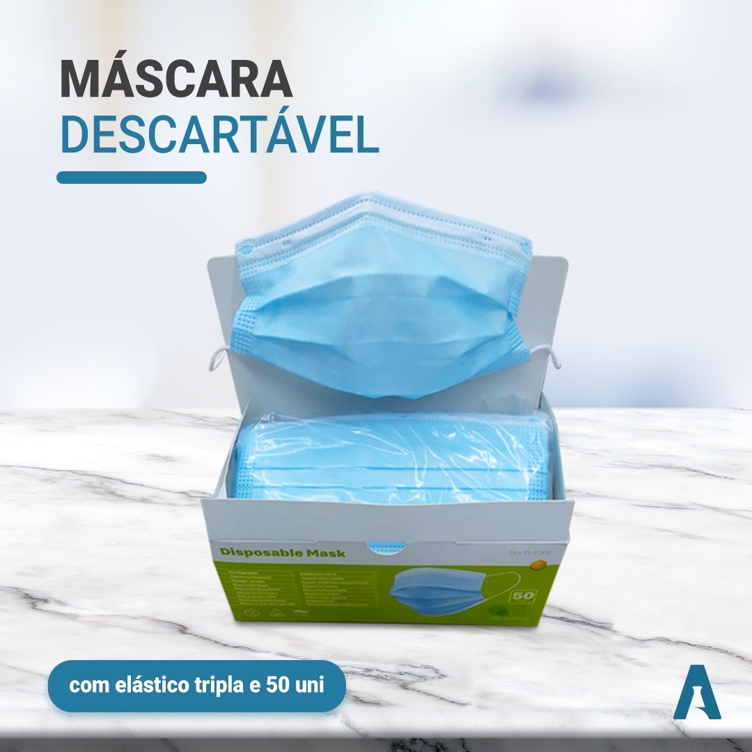 MASCARA DESCARTAVEL CIRURGICA C/ELASTICO TRIPLA - CAIXA COM 50 UNIDADES