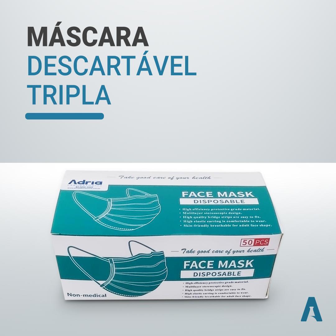Mascara tripla descartável - Face Mask - 50 unidades