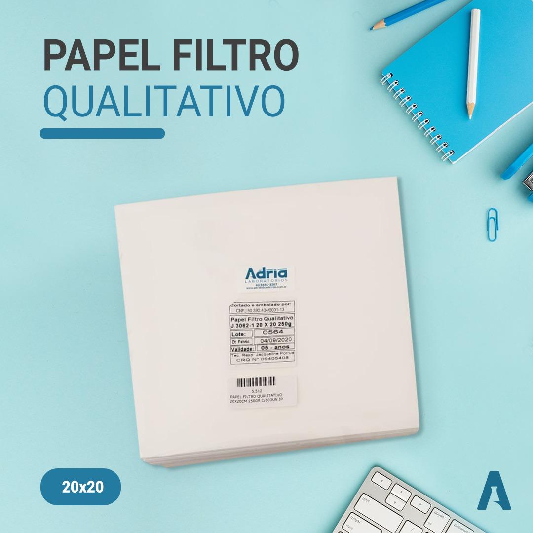 Papel Filtro Qualitativo 20cmx20cm 250gr, pacote com 100folhas