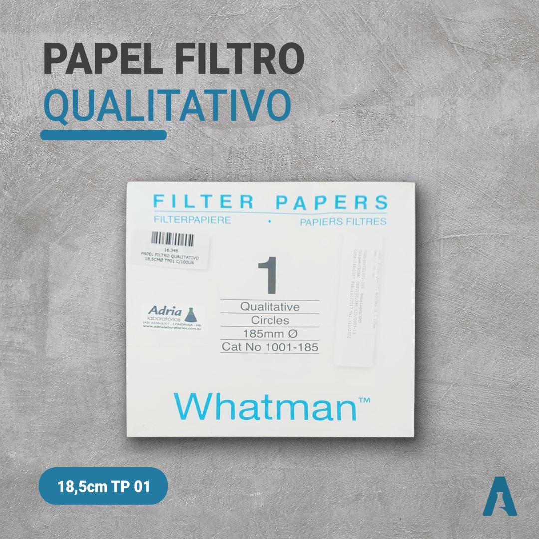 Papel Filtro Qualitativo Tipo 1, Diâm 185mm, Cat Num 1001-185 C/100 Folhas Whatman