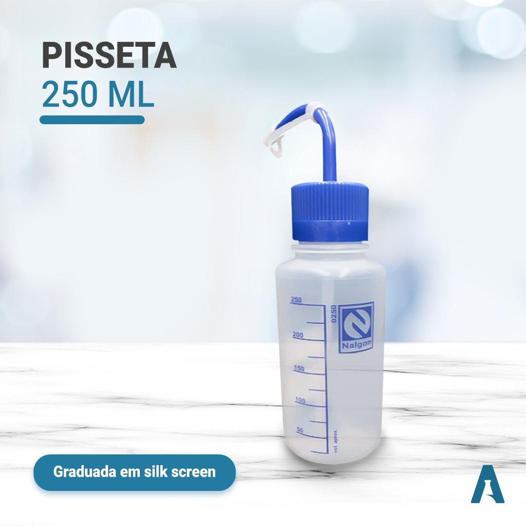 Pisseta 250 ml -- tampa azul -- Graduada em silk screen