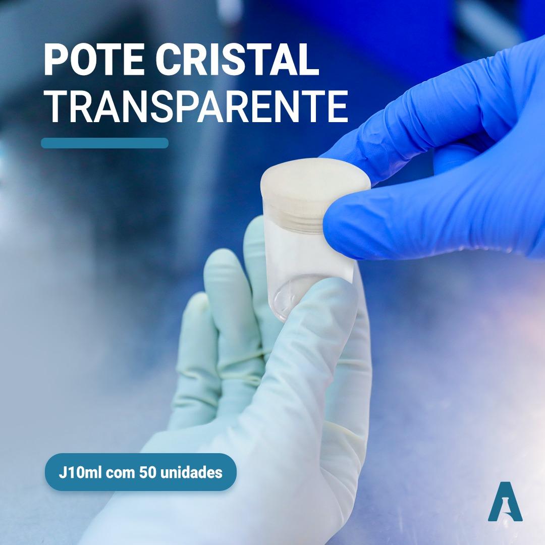 Pote Cristal Transparente J10ml- Pacote com 50 unidades com tampa