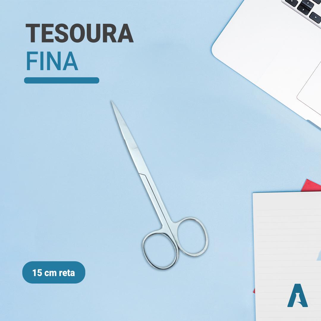Tesoura Fina Fina Reta em Aço Inoxidável Cirúrgico - Tamanho 15cm ABC